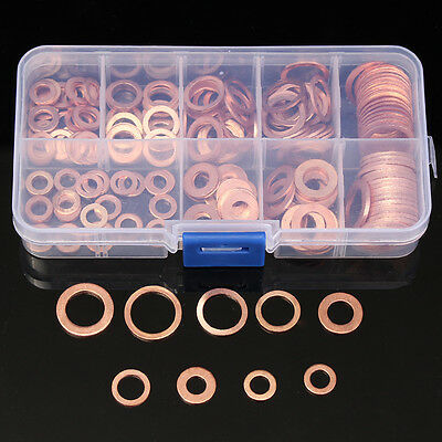 200PCs Solid Copper Washer 9 Sizes Flat Ring Sump Plug Oil Seal Assorted Set Box