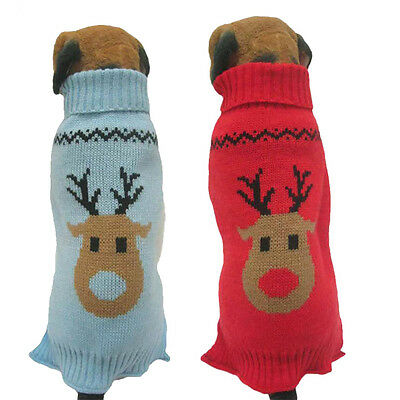 New Cute Reindeer Christmas Dog Pet Jumper Sweater Coat For Small Dog Or Puppy