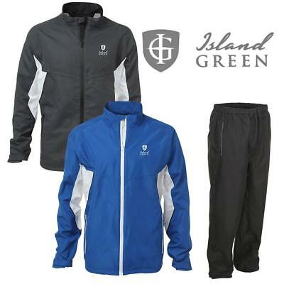 Island Green Waterproof Suit Jacket & Trousers Golf And Keep Dry! New Rain Suit