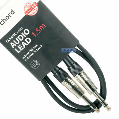 """1.5m CLASSIC 6.35mm STEREO 1/4"""" Guitar Amp Keyboard TRS Jack Cable Mixer Lead"""