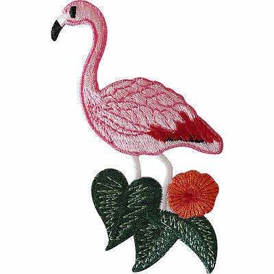 Pink Flamingo Iron Sew On Patch Clothes Jacket Jeans Shirt Bag Embroidered Badge