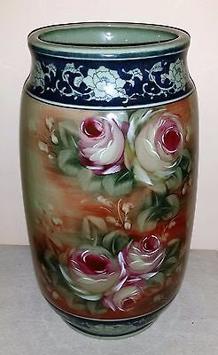 """Large 14"""" Tall Hand Painted Vase"""