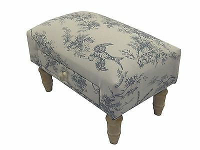 Blue Pheasant Bird Floral Footstool With Drawer H27Xw40Xd25Cm