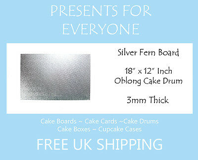 """25 x 18"""" x 12"""" Inch 3mm Thick Oblong Rectangular Cake Board"""