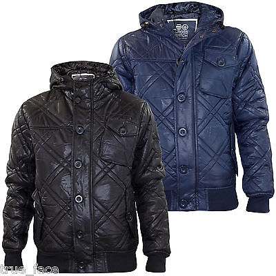 Mens Crosshatch /'Jackster/' Quilted Padded Casual Winter Jacket Coat  Navy XL New