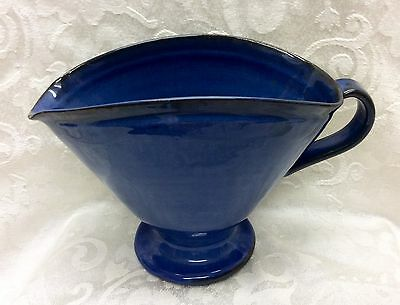 1992 Nell Cole Graves, Age 83, N. C. art Pottery, Handled Footed Cobalt Pitcher