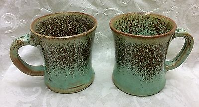 2- A. R. Cole, N. C. Art Pottery, Frogskin Glaze Handled Mugs