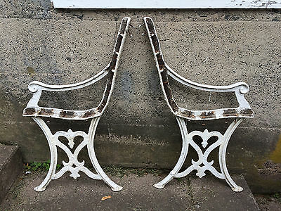 Antique Ornate Victorian Cast Iron Bench Sides, Garden, True Shabby,your Project
