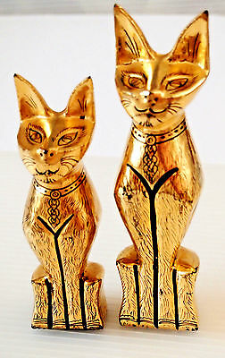 Vintage Pair of Gilded Wooden Statues of Egyptian Goddess  Bast, made in Egypt