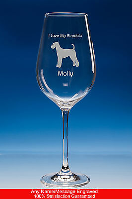 Airedale Terrier Dog Gift Personalised Engraved Large Fine Quality Wine Glass