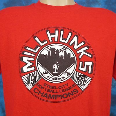 vintage 80s PITTSBURGH STEEL CITY MILLHUNKS SOFTBALL BUTTERY SOFT T-Shirt M/L