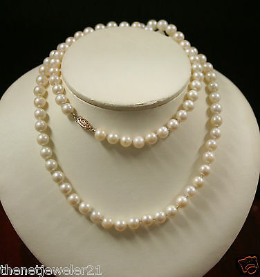 Natural white Akoya Pearl Necklace 14k Yellow Gold filigree Clasp 27inc 7-7.5mm
