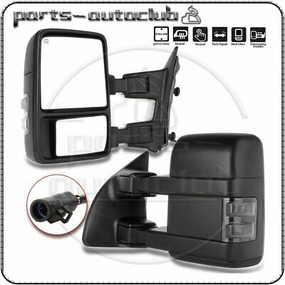 For 99-07 Ford F250 Super Duty Tow Mirror Power Heated SMOKE Turn Signal Light