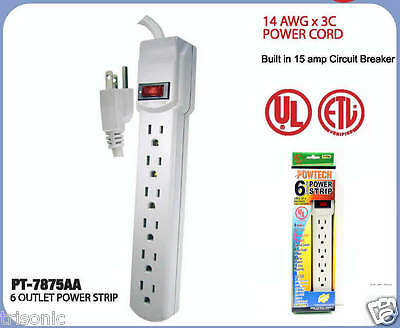 power strip 6 outlet safety circuit breaker 18 inch cord electrical rh picclick com