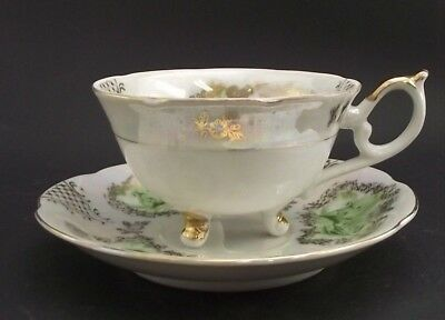 Selecta Japan White & Gold Floral 3 Legged  Antique Cabinet Tea Cup And Saucer