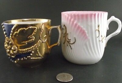 Two Antique Mustache Cups Blue With Gold Gild And Ribbed Pink Rs Germany