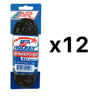 "A&R Striker Ice Hockey Waxed Skate Laces Heavy Duty Lace Black 84"" (12-Pack)"