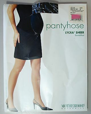 Motherhood Maternity Pantyhose Lycra Sheer Sandalfoot Black Size M Medium
