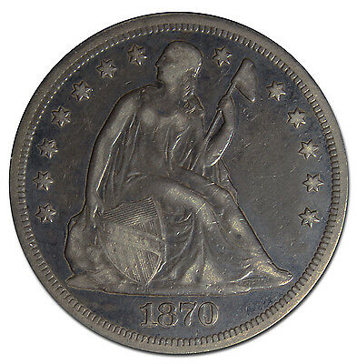 1870 Seated Silver Liberty $1 Dollar Coin Lot# MZ 3109