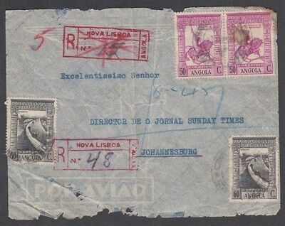 Angola 1940 Registered Cover To South Africa (Id:526/d42014)