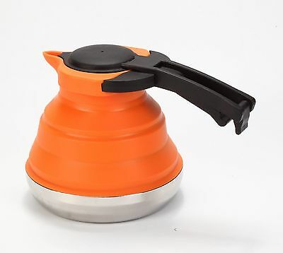 LevelOne Collapsible Silicone Outdoor Camping Kettle (Orange) Orange