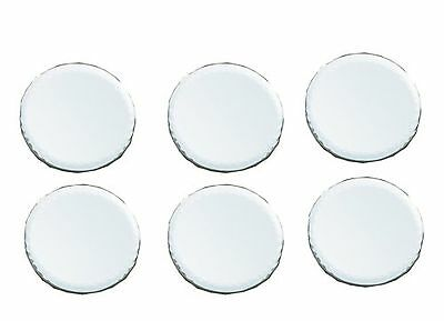 Biedermann & Sons 4-Inch Round-Shaped Bevelled Mirror Plates Set of 6