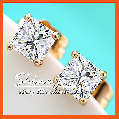 24K Gold Filled Princess Square Simulated Diamond Womens Gift Solid Stud Earring