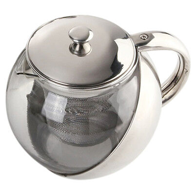 CF Modern Stylish Stainless Steel + Glass Teapot With Loose Tea Leaf Infuser Si