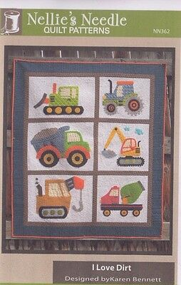 I Love Dirt - fun applique & pieced quilt PATTERN - Nellie's Needle