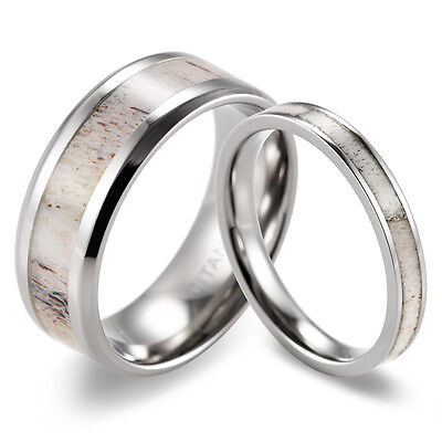 Couple's Titanium 3mm&8mm Wild Antler Engagement Wedding Ring Set-2pcs