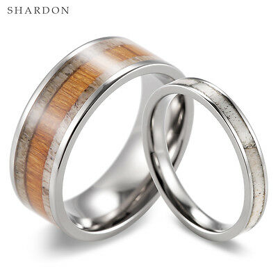 Mens Wedding Band Matching Set Wood & Wild Antler Rings Womens Wedding Band