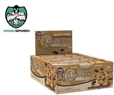 Quest Protein Bar | Box of 12 OATMEAL CHOCOLATE CHIP | Mint | Cookies | Cream