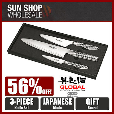 Made in Japan! GLOBAL 3 Piece Knife Set Paring & Chef with Gift Box! RRP $459.00