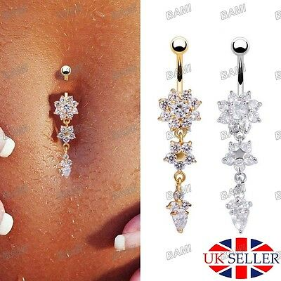 Navel Button Ring Crystal Gem Dangly Surgical Steel Belly Bar Body Jewellery UK*