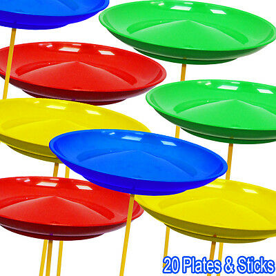 Set of 20 Spinning Plates & Sticks - Circus Kids Skill Toy Great for Party Bags