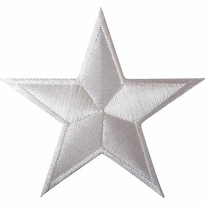 White Star Iron On Patch / Sew On Clothes Bag Embroidered Badge Biker Motorcycle