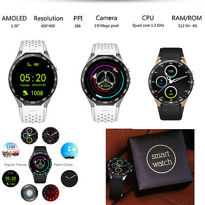 KW88 Android5.1 Quad Core 4GB Bluetooth GPS WiFi SIM Camera Smart Watch for iOS