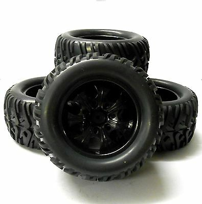 AA8004 1/10 Scale Off Road Monster Truck RC Wheels and Tyres Black 7 Spoke x 4