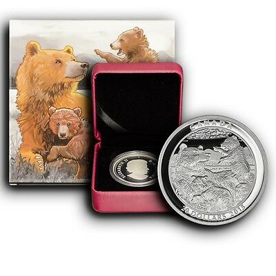 2015 Grizzly Bear Family Canada 1 oz Proof Proof Silver Coin