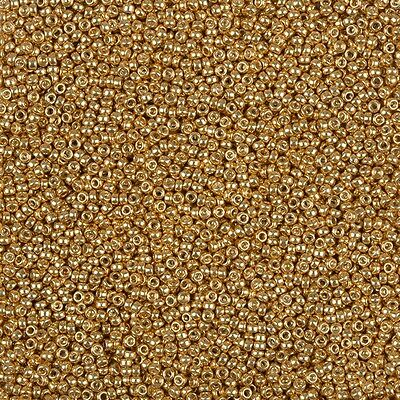 Miyuki Size 15/0 Glass 1.5mm Seed Beads Galvanised Yellow Gold 8.2g Tube (B88/3)