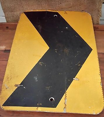 Old Vintage black on yellow direction arrow road sign metal