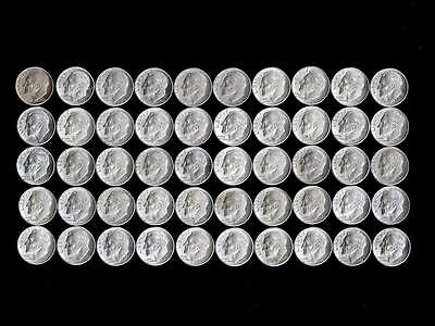 (50) BU UNCIRCULATED Silver Roosevelt Dimes - 1 Roll - $5 Face 90% Coin Lot
