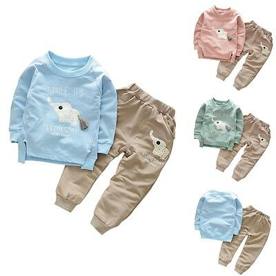 2PCS Kids Elephant Baby Girls Boys Long Sleeve Cotton T-Shirt+Pants Suit Outfits