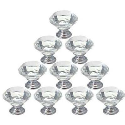 Zinc alloy clear glass crystal cabinet drawer door pulls knobs handle