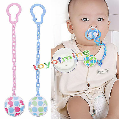 Cute Boy Baby Girl Infant Dummy Pacifier Chain Clip Soother Holder Toddler Toy