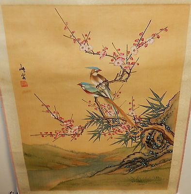 Old Japanese Two Birds On A Blossom Tree Original Watercolor Painting Signed