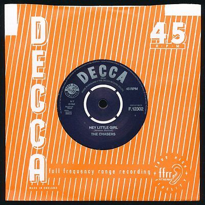 """The Chasers - Hey Little Girl - Superb Repro Of This Rare 7"""" Single - F.12302"""