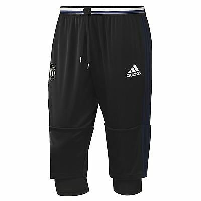 adidas Mens Gents Football Soccer Manchester United Training 3/4 Pants - Black