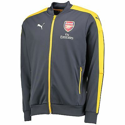 Official Arsenal Puma Mens Gents Football Soccer Stadium Jacket Top Black Yellow