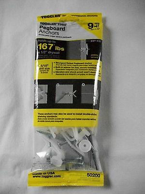 "50200 TOGGLER #8 x 1-3/4"" Pegboard Anchors Screws 167 lb. Max 9-Pack *NEW*"